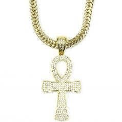 18k Gold Plated CZ Ankh Cross Pendant