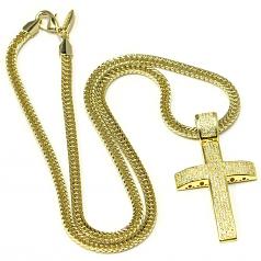 18k Gold Plated CZ Cross Pendant