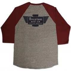 Brixton Cylinder 3/4 Sleeve T-Shirt Heather Grey Burgundy
