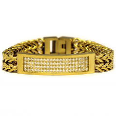 18k Gold Plated 2 Row CZ Franco Link ID Bracelet 8 Inches