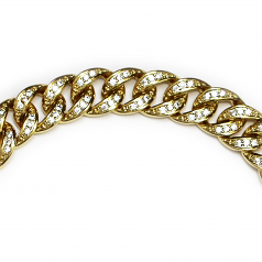 Gold Plated CZ Bracelet 10mm 8.5 inches