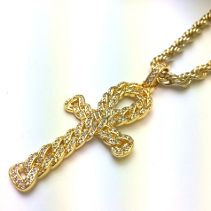 18k Gold Plated CZ Egyptian Ankh Pendant with 6mm Rope Chain 24 Inches