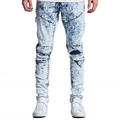 Embellish NYC Mackenzie Ripped Denim Jeans Blue Bleach