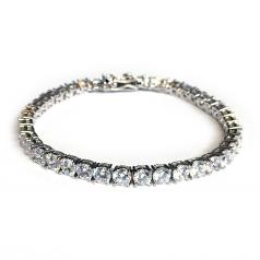 Platinum Plated CZ Tennis Bracelet Round Cut 4mm