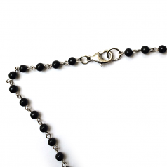 Black Onyx Rosary Necklace With Double Crucifix