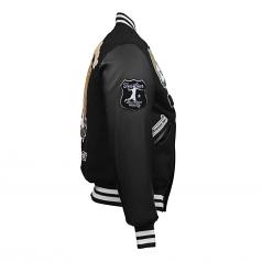 Top Gun King Wool PU Bomber Jacket Black